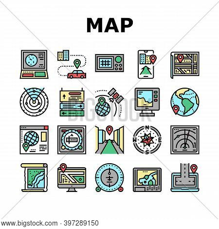 Map Location System Collection Icons Set Vector. Map Location And Gps Satellite Navigation, Directio