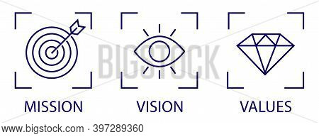 Mission, Vision, Values Business Vector Linear Icon Collection. Modern Flat Design Elements. Vector