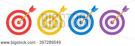 Set Of Target Vector Icon. Colored Target With Arrow. Arrows Hitting The Target. Victory Signs Isola