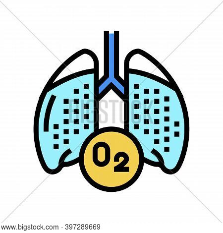 Lungs With Oxygen Color Icon Vector. Lungs With Oxygen Sign. Isolated Symbol Illustration