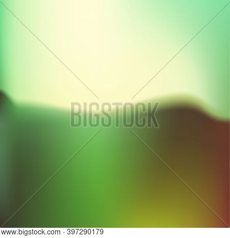 Abstract Vector Image Of Mountain, Forest Landscape. Multilevel Mountain Range In The Background And