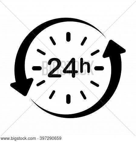 24h Clock With Arrow Circle Vector Icon. Work Time. Delivery Service Time Icon. Time Symbol Isolated