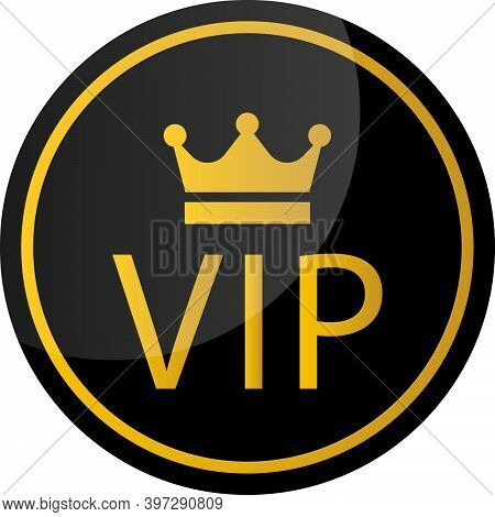 Vip Vector Sign. Vip Icon Vector Isolated On White Background. Premium And Luxury Black And Gold Sym