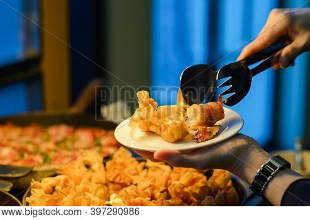 Buffet Dinner Catering In Party. Food And Drink All You Can Eat Concept