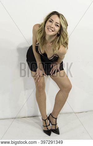 Full Length Of Blonde Girl. Women's Sexy Underwear In Black Lace. Sheer V-neck Petticoat, Lingerie,