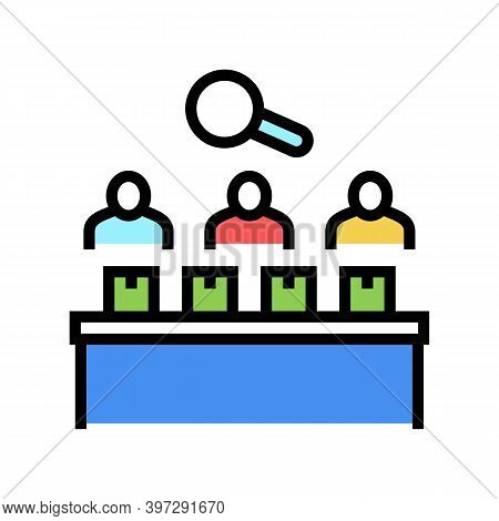 Factory Employees Controlling Manufacturing Process Color Icon Vector. Factory Employees Controlling