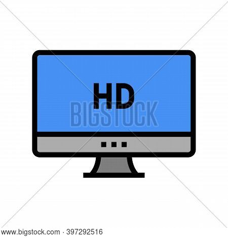 Hd Resolution Computer Screen Color Icon Vector. Hd Resolution Computer Screen Sign. Isolated Symbol