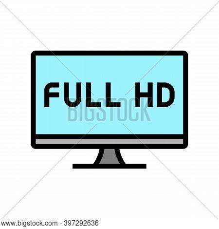 Full Hd Resolution Computer Screen Color Icon Vector. Full Hd Resolution Computer Screen Sign. Isola