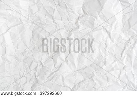 White Sheet Of Crumpled Paper For Background With Fine Texture.