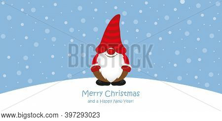 Cute Christmas Greeting Card With Gnome On Snowy Landscape Vector Illustration Eps10