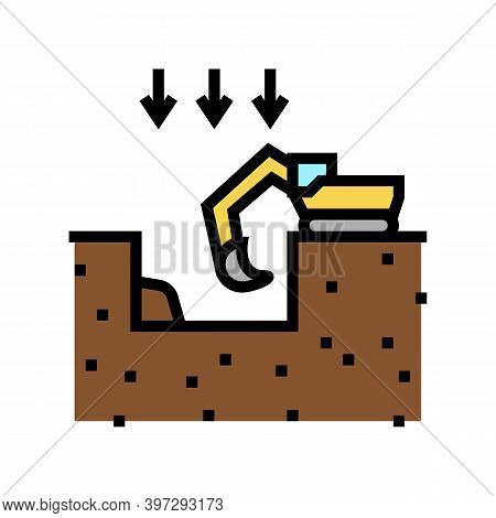 Excavation Pit For Building Color Icon Vector. Excavation Pit For Building Sign. Isolated Symbol Ill