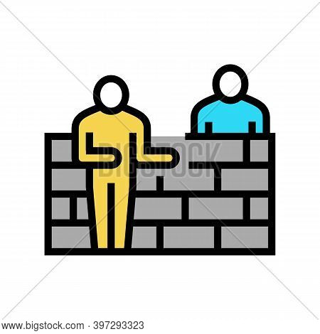 Builders Building Wall Color Icon Vector. Builders Building Wall Sign. Isolated Symbol Illustration