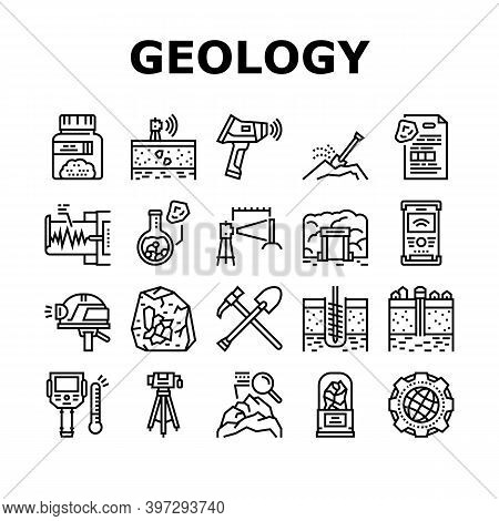 Geology Researching Collection Icons Set Vector. Gyro Theodolite And And Laser Level, Field Controll