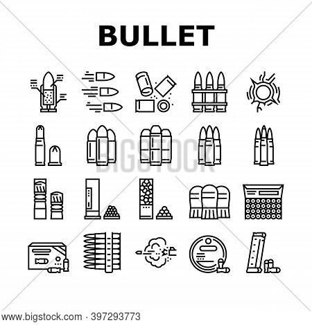 Bullet Ammunition Collection Icons Set Vector. Bullet Expelling From Gun Barrel Shooting And Hole, C