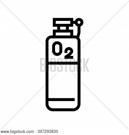 Oxygen Tank Line Icon Vector. Oxygen Tank Sign. Isolated Contour Symbol Black Illustration