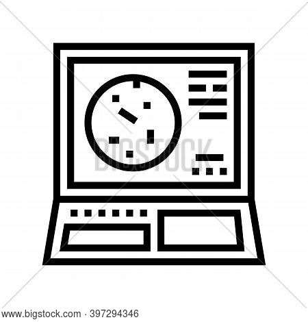 Radar System Line Icon Vector. Radar System Sign. Isolated Contour Symbol Black Illustration