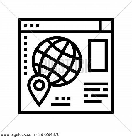 Web Site Map Location Line Icon Vector. Web Site Map Location Sign. Isolated Contour Symbol Black Il
