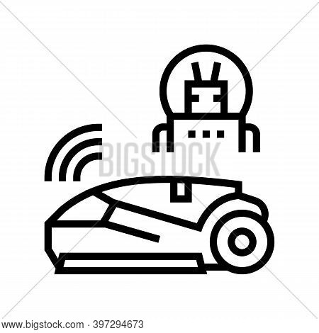 Smart Automatical Lawn Mower Line Icon Vector. Smart Automatical Lawn Mower Sign. Isolated Contour S
