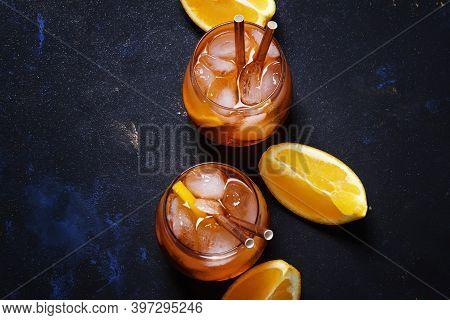 Italian Orange Cocktail With Aperitif, Ice, Sparkling Wine And Orange Slice, Top View
