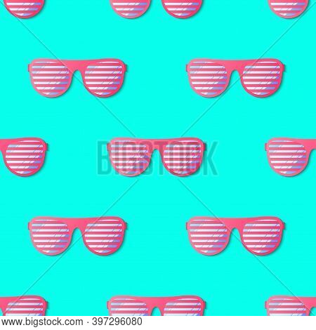Hipster Sunglasses Seamless Pattern. Summer Fashion Vector With Sunglass. Colorful Turquoise Wallpap
