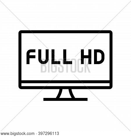 Full Hd Resolution Computer Screen Line Icon Vector. Full Hd Resolution Computer Screen Sign. Isolat