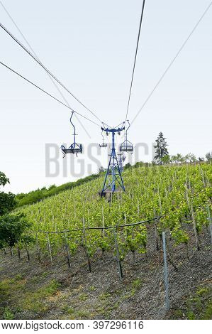 Vineyard With Chairlift Near Boppard Located At The Rhine River In The Rhein-hunsrueck-district In R