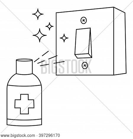 Light Switches Disinfection. Surface Cleaning, Room Sanitation. Disinfection Of Interrupter From Bac