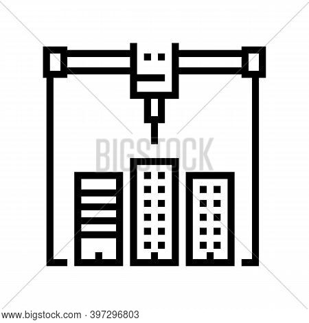 Building Layout 3d Printer Line Icon Vector. Building Layout 3d Printer Sign. Isolated Contour Symbo