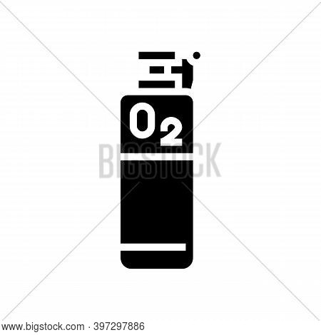 Oxygen Tank Glyph Icon Vector. Oxygen Tank Sign. Isolated Contour Symbol Black Illustration