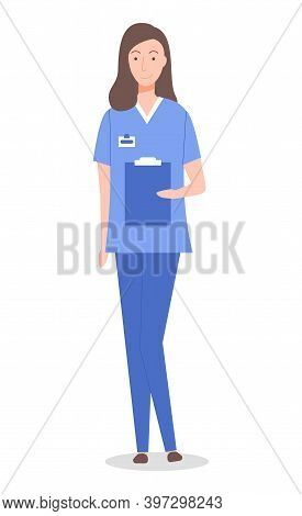 Isolated At White Cartoon Character. Doctor Woman Or Nurse Wearing Medical Suit Holding Clipboard Wi