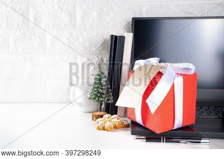 Office Desk With Christmas Gift