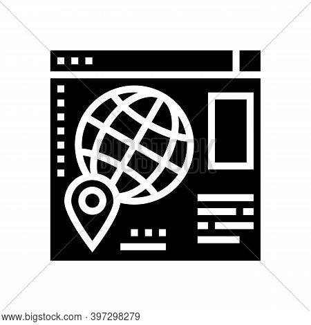 Web Site Map Location Glyph Icon Vector. Web Site Map Location Sign. Isolated Contour Symbol Black I
