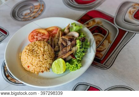 Fried Pork Rice. Fried Rice With Thai Basil And Crispy Belly Pork - Thai Food Style. Fried Rice With