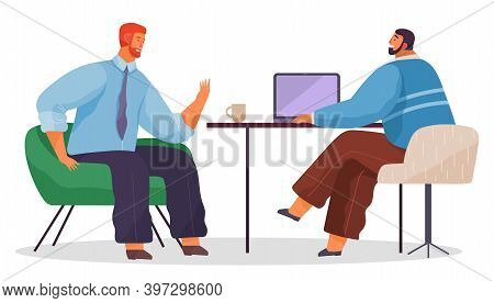 Colleagues Working, Teamwork Process, Office Workers Sitting At Table And Working, Discussing, Brain