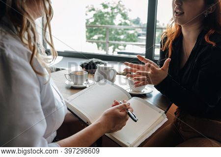 Mental Health Concept. Communication Session Of Woman Psychologist And Client. Psychotherapy Or Talk