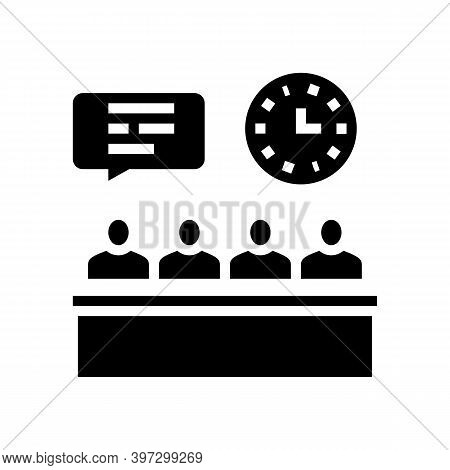 Meeting And Discussion Directors Of Manufacturing Factory Glyph Icon Vector. Meeting And Discussion