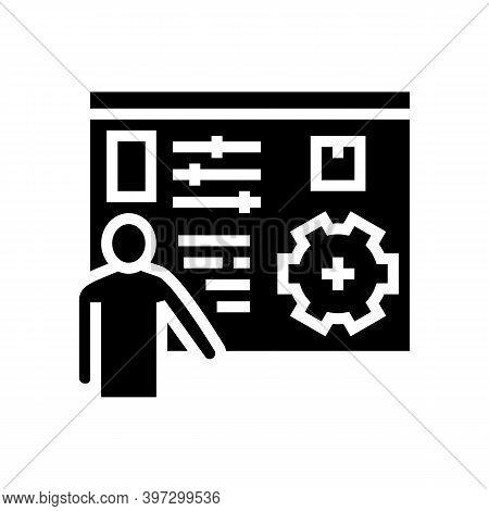 Box Characteristics Presentation Glyph Icon Vector. Box Characteristics Presentation Sign. Isolated