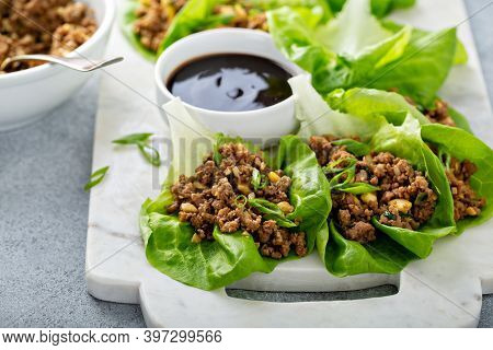 Chicken Or Turkey Asian Lettuce Wraps With Sweet And Sauce