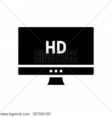 Hd Resolution Computer Screen Glyph Icon Vector. Hd Resolution Computer Screen Sign. Isolated Contou