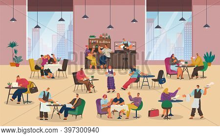 Office Managers Sitting At Tables. People Relaxing, Having Lunch, Dinner. Office Workers Have Coffee