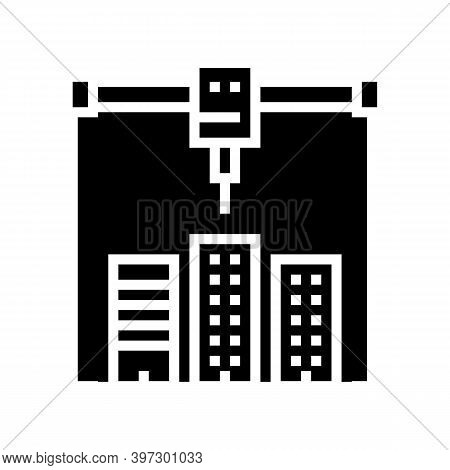 Building Layout 3d Printer Glyph Icon Vector. Building Layout 3d Printer Sign. Isolated Contour Symb