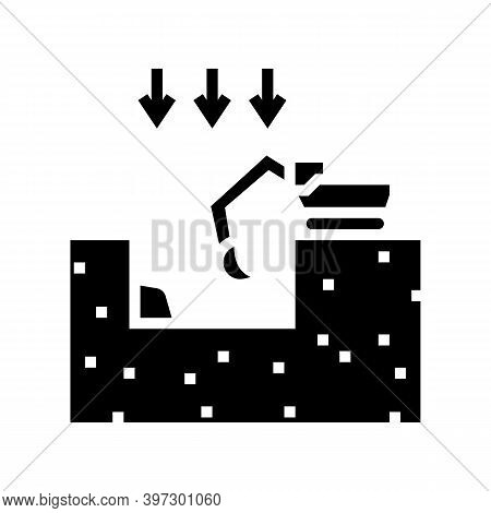 Excavation Pit For Building Glyph Icon Vector. Excavation Pit For Building Sign. Isolated Contour Sy