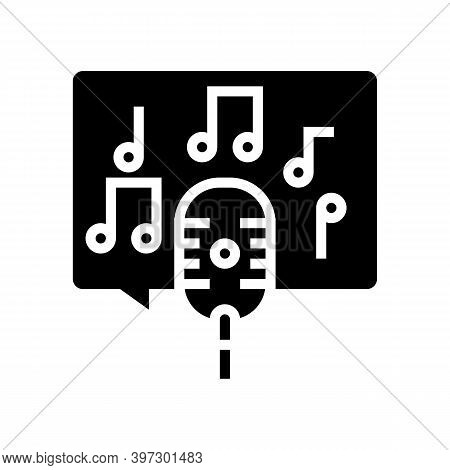 Live Music On Radio Channel Glyph Icon Vector. Live Music On Radio Channel Sign. Isolated Contour Sy