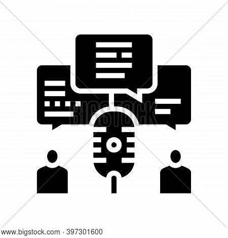 Discussion Radio Channel Glyph Icon Vector. Discussion Radio Channel Sign. Isolated Contour Symbol B