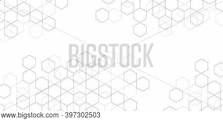 Hexagons On White Background.technical Drawing.geometric Rhombuses.abstract Tech.vector Illustration