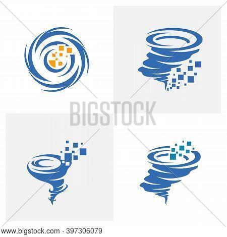 Set Of Pixel Tornado Logo Vector Template, Creative Twister Logo Design Concepts, Icon Symbol