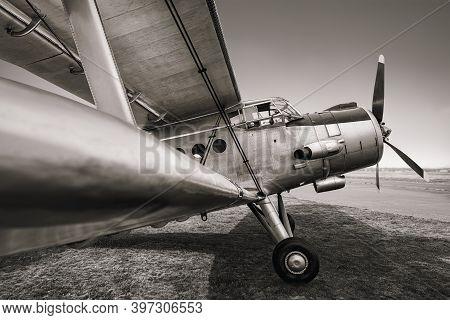 Historical Biplane On An Airfield Ready For Take Off