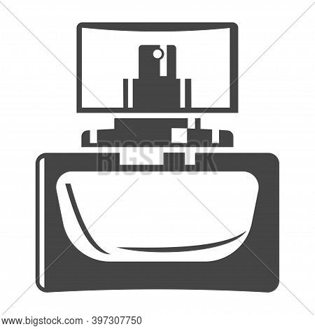 Perfume Bottle With Lid Bold Black Silhouette Icon Isolated On White. Glass Packaging For Scent.