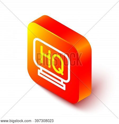 Isometric Line Military Headquarters Icon Isolated On White Background. Orange Square Button. Vector