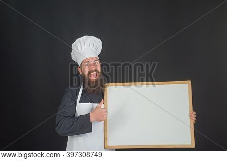 Chef. Empty Menu Board. Copy Space For Text. Male Chef, Cook Or Baker With Blank Board. Man Cook Sho